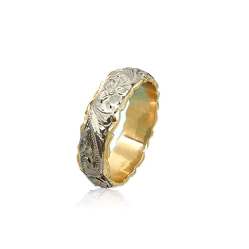 14KT Gold White and Yellow Double Two Tone Hawaiian Plumeria Scroll Wedding Ring Band