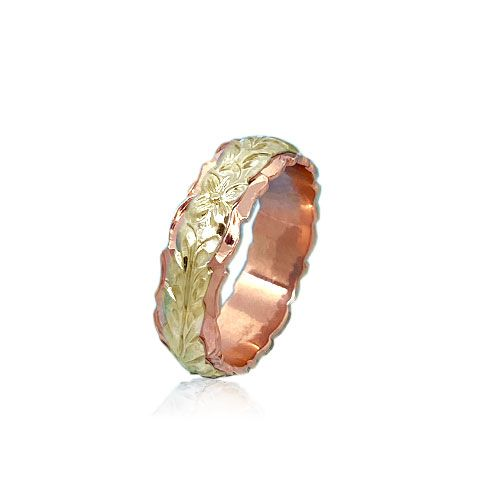 14KT Gold Yellow and Rose Double Two Tone Hawaiian Maile Wedding Ring Band