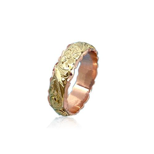 14KT Gold Yellow and Rose Double Two Tone Hawaiian Plumeria Scroll Wedding Ring Band