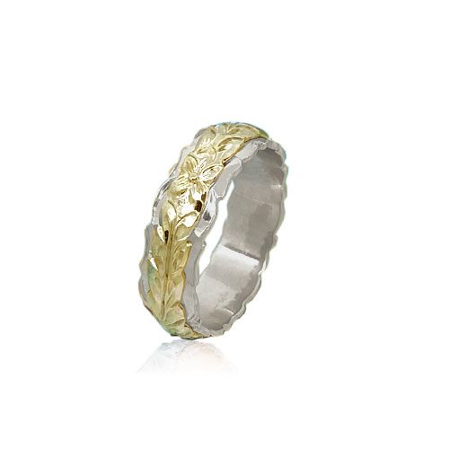 14KT Gold Yellow and White Double Two Tone Hawaiian Maile Wedding Ring Band