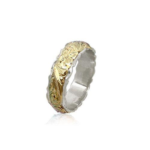 14KT Gold Yellow and White Double Two Tone Hawaiian Plumeria Scroll Wedding Ring Band
