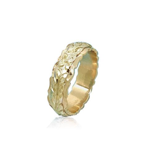 14KT Yellow Gold Double Hawaiian Maile Leaf Wedding Ring Band