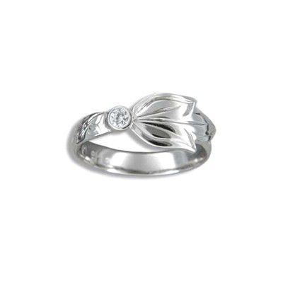 Fine Engraved Sterling Silver Hawaiian Scroll and Maile Leaf with CZ Ring