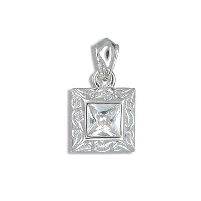 Fine Engraved Sterling Silver Hawaiian Scroll with Square Cut CZ (S) Pendant