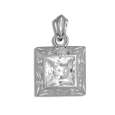 Fine Engraved Sterling Silver Hawaiian Scroll with Square Cut CZ (L) Pendant