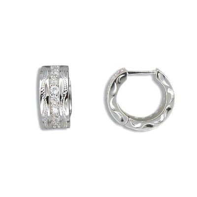 Fine Engraved Sterling Silver Hawaiian Scroll with Channel Set CZ Hoop Earrings