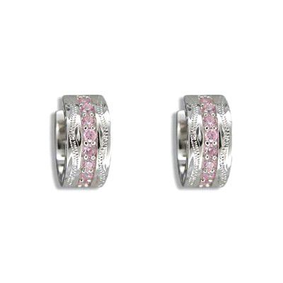 Fine Engraved Sterling Silver Hawaiian Scroll with Channel Set Pink CZ Hoop Earrings