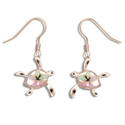 Sterling Silver Honu Pink Opal Plumeria Fish Wire Earrings