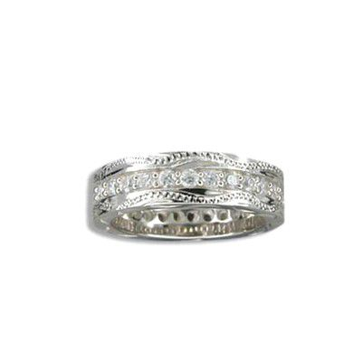 Fine Engraved Sterling Silver Hawaiian Scroll with Channel Set CZ Ring