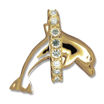 14kt Yellow Gold Jumping Dolphin and Hawaiian CZ Leis Pendant