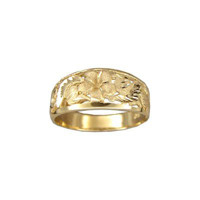 14kt Yellow Gold 6mm Cut-In Hawaiian Plumeria Taper Ring
