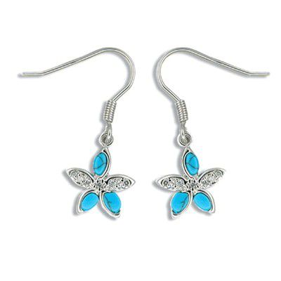 Sterling Silver Blue Turquoise Plumeria CZ Earrings
