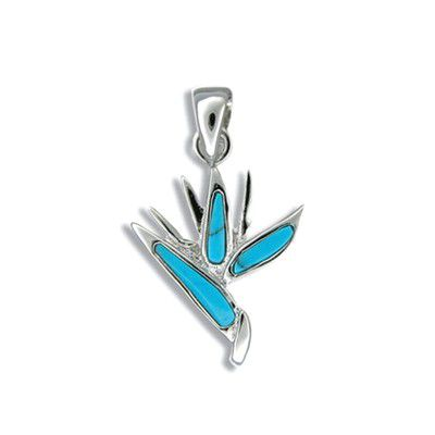 Sterling Silver Blue Turquoise Bird of Paradise Pendant