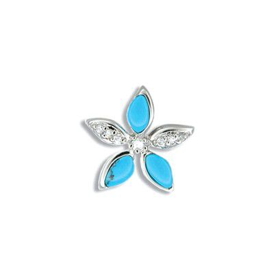Sterling Silver Blue Turquoise Plumeria  CZ Pendant