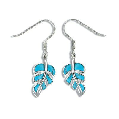 Sterling Silver Hawaiian Monstera Leaf with Blue Turquoise Fish Wire Earrings