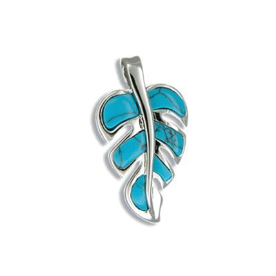 Sterling Silver Hawaiian Blue Turquoise Monstera Leaf Pendant