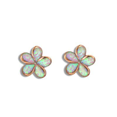 Sterling Silver Pink Opal Pumeria Pierced Earrings