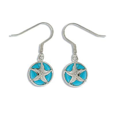 Sterling Silver Hawaiian Sand Dollar with Blue Turquoise CZ Earrings
