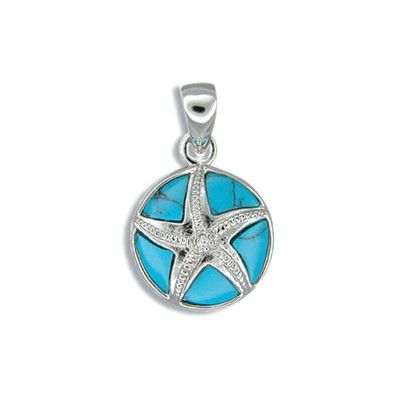 Sterling Silver Hawaiian Sand Dollar with Blue Turquoise CZ Pendant