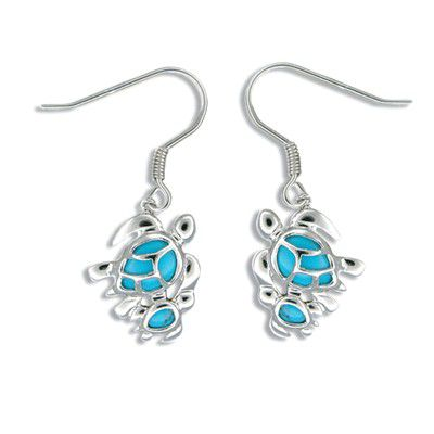 Sterling Silver Hawaiian Mother and Baby Honu Blue Turquoise Earrings
