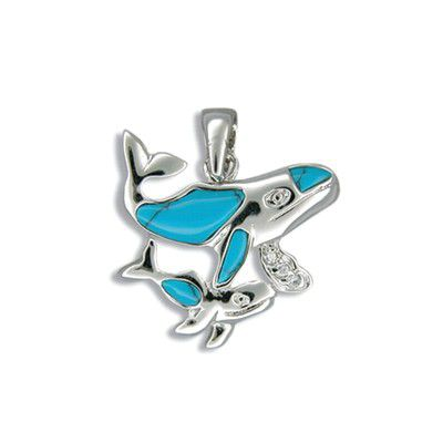 Sterling Silver Mother and Baby Whale Blue Turquoise Pendant
