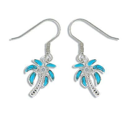 Sterling Silver Hawaiian Blue Turquoise Plam Tree Earrings