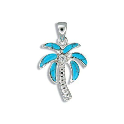 Sterling Silver Hawaiian Blue Turquoise Plam Tree Pendant with CZ