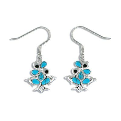 Sterling Silver Hawaiian Plumeria and Dolphin with Blue Turquoise Earrings