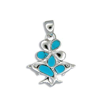 Sterling Silver Hawaiian Plumeria and Dolphin with Blue Turquoise Bouquet Pendant