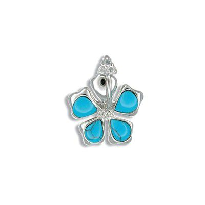Sterling Silver Hawaiian Hibiscus with Blue Turquoise Pendant
