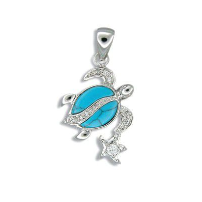 Sterling Silver Hawaiian Honu and Star Blue Turquoise Pendant with CZ