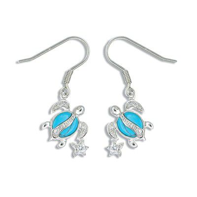 Sterling Silver Hawaiian Honu and Star Blue Turquoise Earrings with CZ