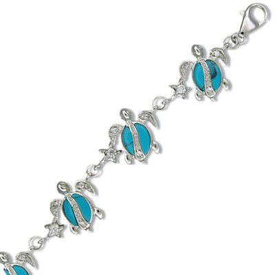 Sterling Silver Hawaiian Honu and Star Blue Turquoise Bracelet with CZ