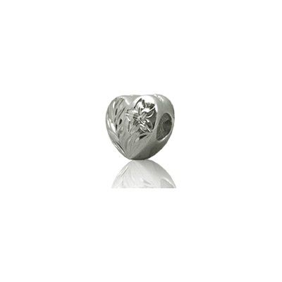 Sterling Silver Hawaiian Rhodium Heart Bead Charm