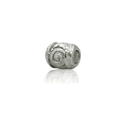 Sterling Silver Hawaiian Rhodium Cut-in Scroll Bead Charm