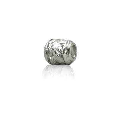 Sterling Silver Hawaiian Rhodium Cut-In Maile Leaf Bead Charm