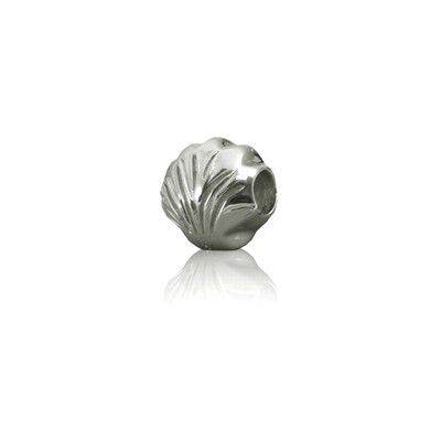 Sterling Silver Hawaiian Rhodium Clam Shell  Bead Charm
