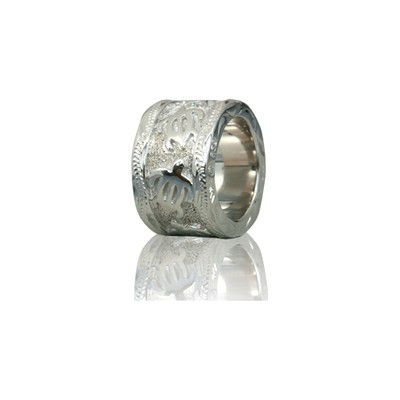 Sterling Silver Hawaiian Rhodium Raised HONU Bead
