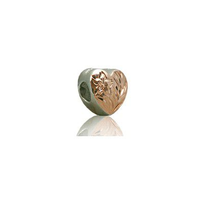Sterling Silver Hawaiian Rhodium Rose Heart Bead Charm