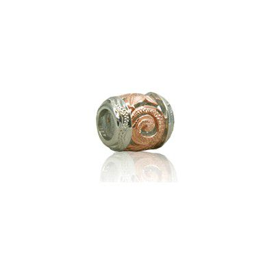 Sterling Silver Hawaiian Rhodium Rose Cut-in Scroll Bead Charm