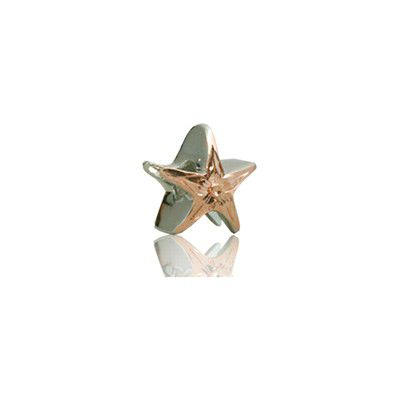 Sterling Silver Hawaiian Rhodium Rose Starfish Bead Charm