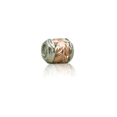 Hawaiian Rose Gold Plated  Cut-In Maile Leaf Bead Charm