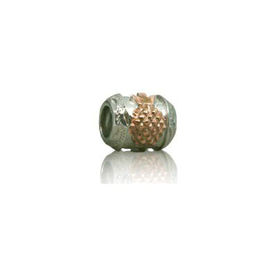 Sterling Silver Hawaiian Rhodium Rose Pineapple Bead Charm
