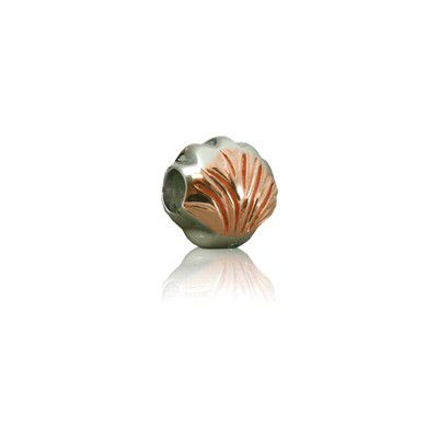 Sterling Silver Hawaiian Rhodium Rose Clam Shell  Bead Charm
