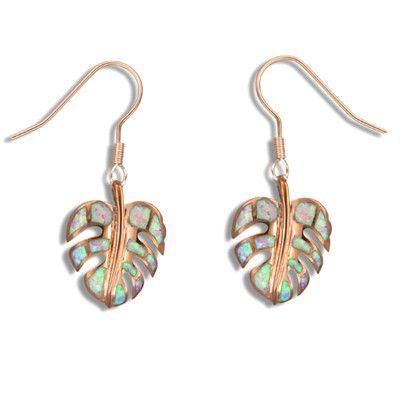 Sterling Silver Hawaiian Monstera Leaf Pink Opal Fish Wire Earrings