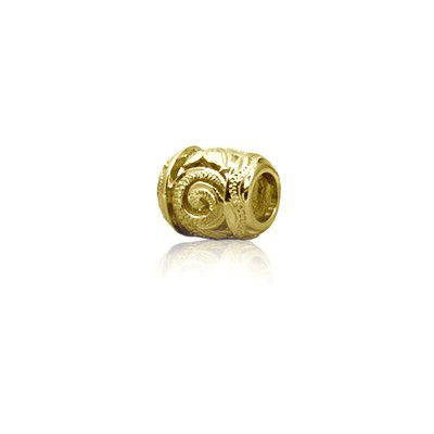 Sterling Silver Hawaiian Yellow Cut-in Scroll Bead Charm