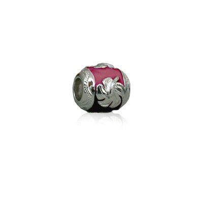 Sterling Silver Hawaiian Rhodium Red Enamel Hibiscus Charm Bead