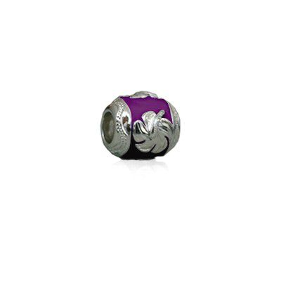 Sterling Silver Hawaiian Rhodium Purple Enamel Hibiscus Charm Bead