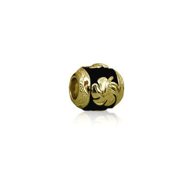 Sterling Silver Hawaiian Yellow Gold Plated Black Enamel Hibiscus Bead