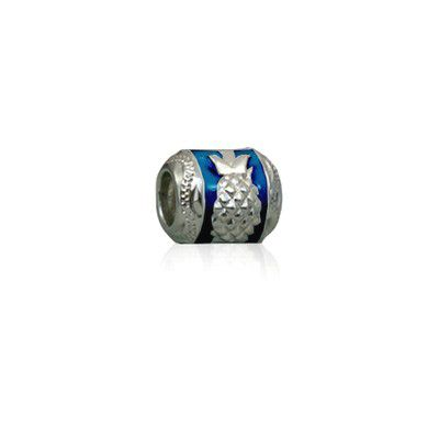 Sterling Silver Hawaiian Rhodium Blue Enamel Pineapple Charm Bead